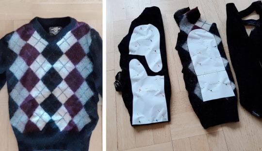 Återbruk av kläder! Oavsett om du kan filta din stickade tröja eller ej kan du använda den som tyg till nya spännande projekt.