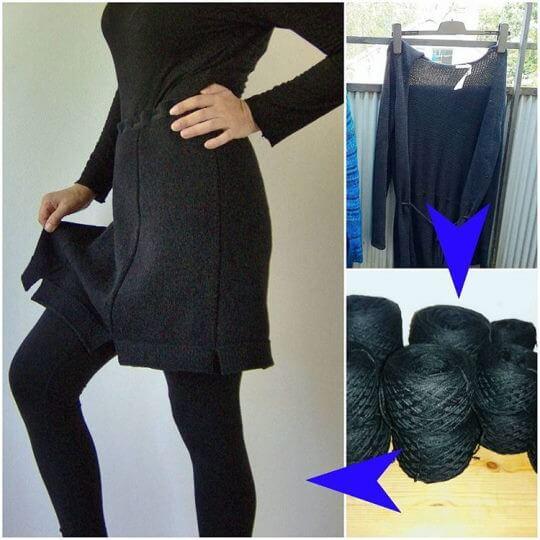 Återvinn garn från en begagnad kofta, sticka en ny kjol av det efter egen stickbeskrivning.