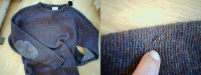 Slaktfärdig stickad tröja med hål