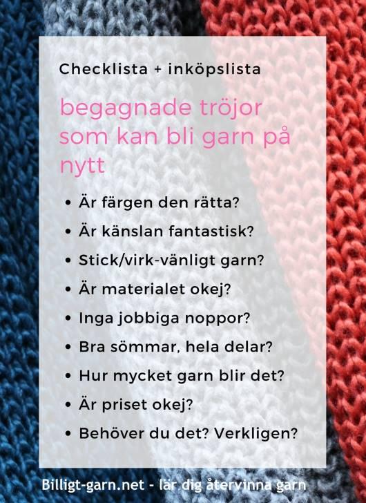Återvinn garn! Checklista för begagnade tröjor