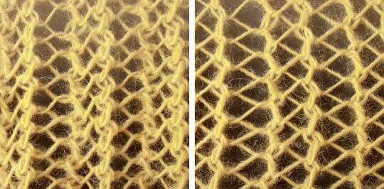 Sticka hålmönster med olika breda hålrader genom att växla minskningar.