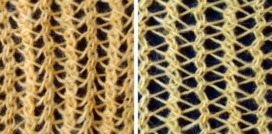 Kombinera vridna minskningar med aviga minskningar för ett stickat hålmönster med nästan trekantiga hål.