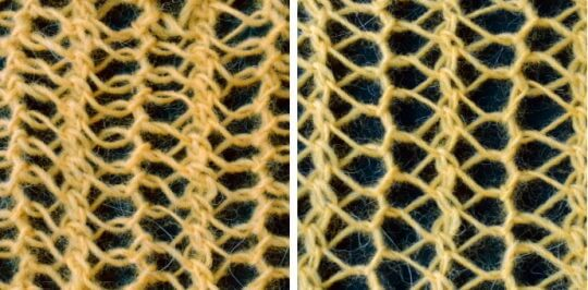 När du stickar enkla hålmönster med vridna minskningar tillsammans med aviga minskningar får du en kombination av trekantiga och femkantiga hål.