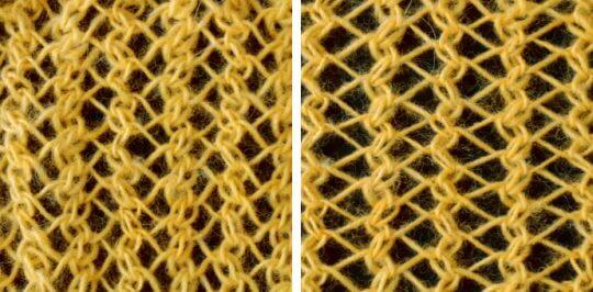 Randig sillbensstickning - ett enkelt hålmönster med högerlutande minskningar och aviga ihoptagningar, kombinerat med omslag.