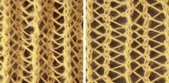 Stickat hålmönster med kantiga hål och tydlig resåreffekt.