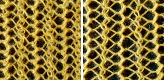 Kombinera vänsterlutande minskning med högerlutande minskning ett stickat hålmönster.
