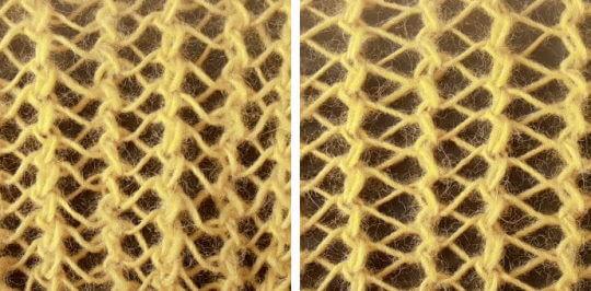 En vanlig minskning varvad med en vriden ger en lätt skillnad i omslagens utseende i stickade hålmönster.