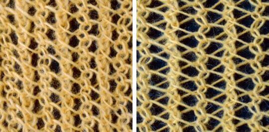 Stickat hålmönster eller spetsmönster med vänsterlutande minskningar, varannan rad vridna minskningar.