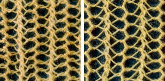 Två sorters vänsterlutande minskningar ger ett brett stickat hålmönster med speglade omslagshål.