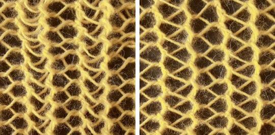 Stickat hålmönster med rader av olika sorters hål: trekantiga och femkantiga.
