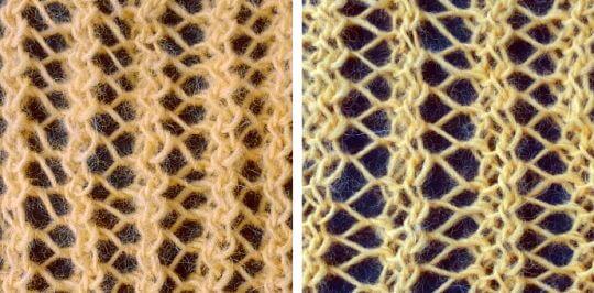 Vändbart hålmönster över 3 maskor: gör ett omslag, sticka en rät maska, sticka två avigt tillsammans.