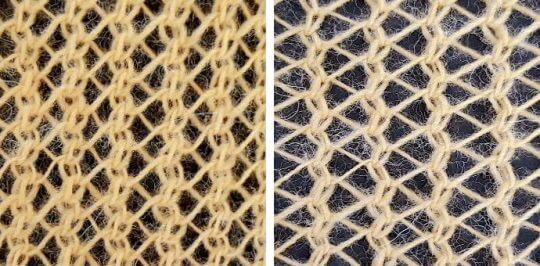 Om du stickar ett hålmönster med omslag och vanlig minskning får du något som kallas sillbensstickning.