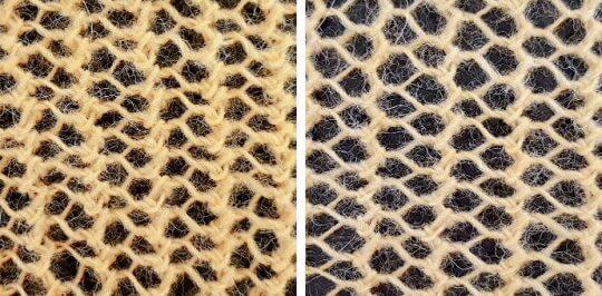 Klassiskt, stickat nätmönster eller enkel spetsstickning: omslag, sticka ihop 2 m. På ett udda antal maskor.