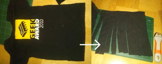 Förvandla en gammal T-tröja till trikågarn att sticka eller virka med.