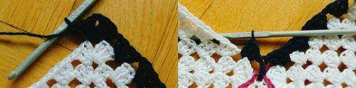 Virka en överkant på ditt linne, med extra stolpar.