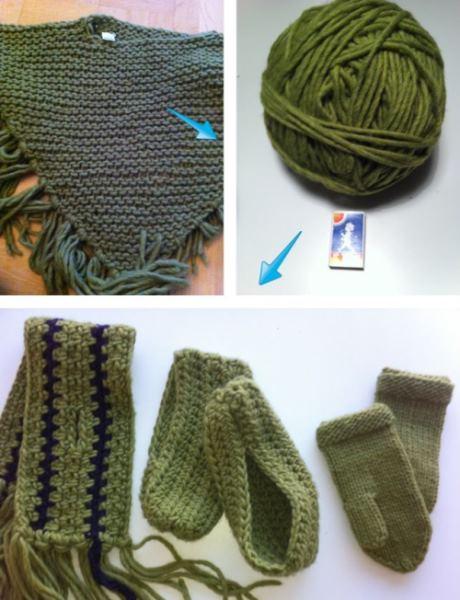 Lovikkagarn från poncho räckte till halsduk, vantar och tofflor