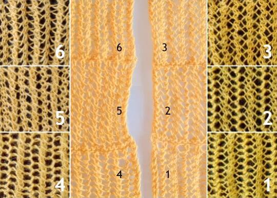 Sticka hålmönster med omslag och två olika sorters minskningar, maskantal 4+1.