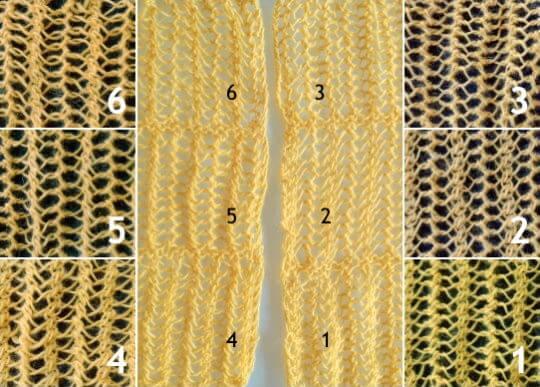 Sticka enkla hålmönster (spetsstickning) på ett maskantal delbart med 4 +2