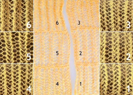 Sticka hålmönster genom att upprepa [omslag, minskning 1, omslag, minskning 2] för en ribbad effekt.