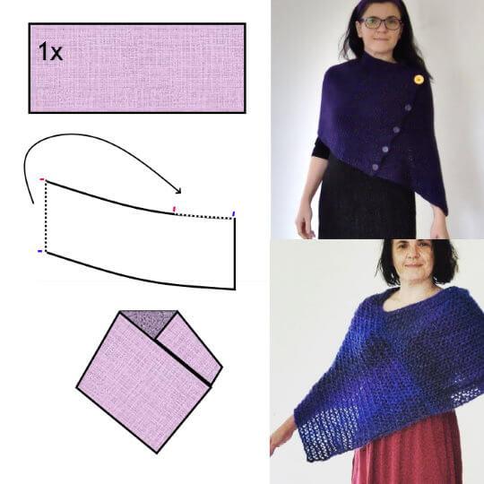 Sticka eller virka en poncho med snibb, av ett rakt stycke. Mönster och diagram.