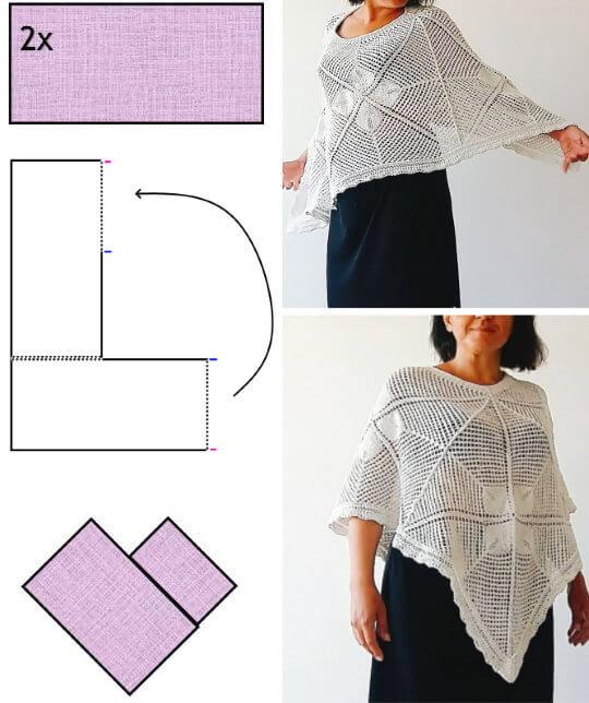 Sticka eller virka en V-poncho av två raka stycken. Gratis mönster och diagram.