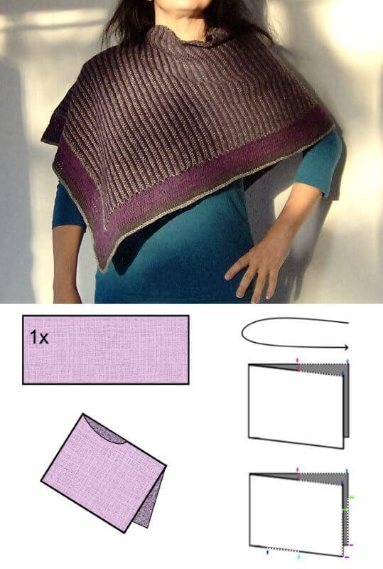 Sticka eller virka en poncho av ett rakt stycke som du viker på mitten. Gratis mönster och diagram.