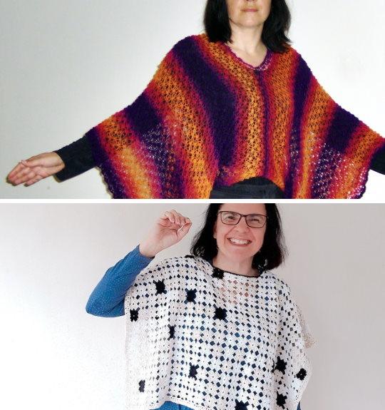 Sticka eller virka en poncho av 2 raka stycken. Gratis mönster och diagram.
