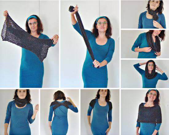 Stickbeskrivning till en snudd på magisk sjal, halsduk, huva, tubhalsduk, poncho, axelvärmare.
