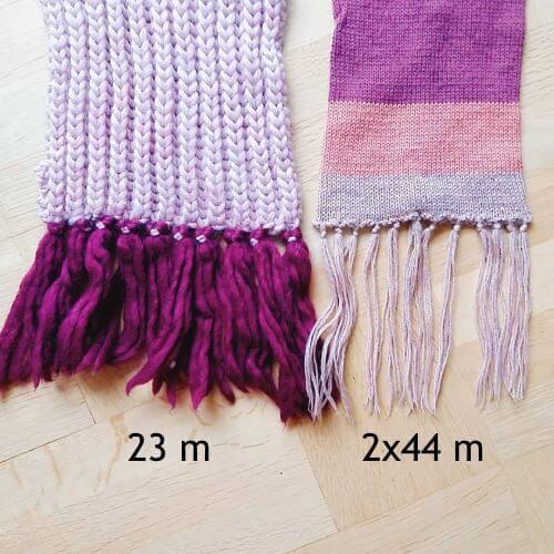 Hur bred är en stickad halsduk? Det beror på garn och mönster