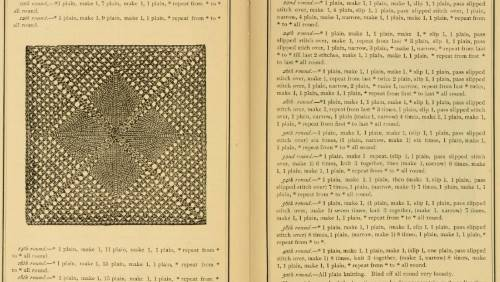 Beskrivning på stickad ruta från 1886
