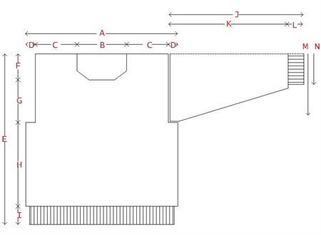 Stickmönster till herrtröja, diagram