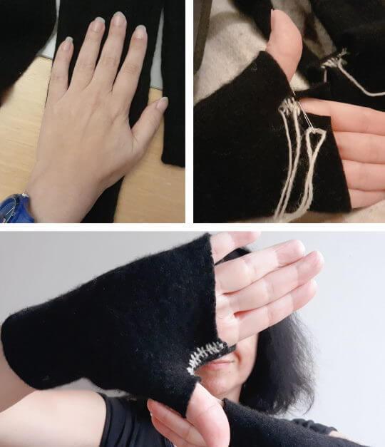Sy ett par torgvantar av en gammal stickad tröja, filtad eller inte.