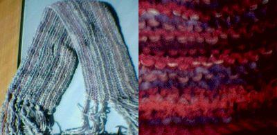 Två halsdukar efter samma stickbeskrivning