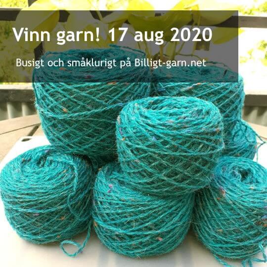 Vinn återvunnet, klargrönt ullgarn med tweed-färgpluppar i augusti 2020!