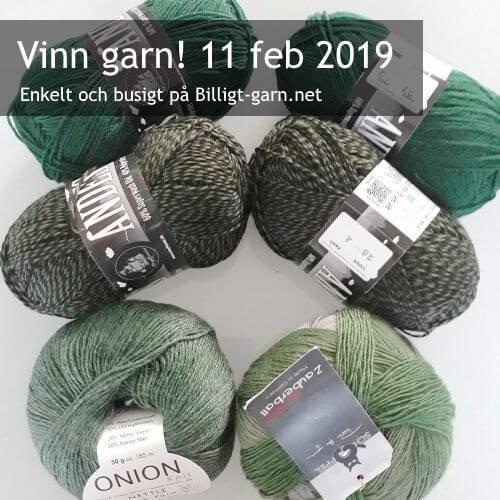 Vinn strumpgarn (superwashbehandlad ull + syntet) i gröna nyanser i februari 2019.