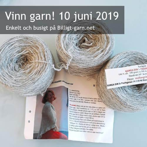 Vinn 1-trådigt ullgarn + sjalmönster i juni 2019.