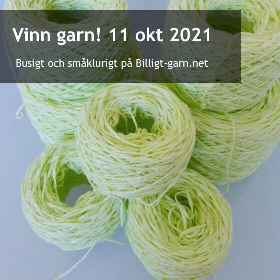 Vinn gulgrönt, återvunnet bomullsgarn med pluppar i oktobertävlingen 2021!
