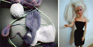 Stickar du Barbieklänningar på magic loop kan du sticka tre på en gång.
