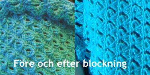 Före och efter blockning av en virkad sjal.