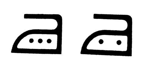 Tvättetikett med strykjärnssymboler