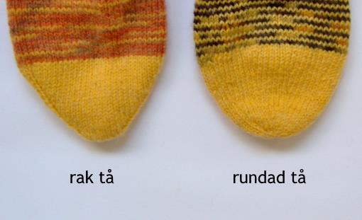 Sticka en rundad tå till från tån och upp-strumpor