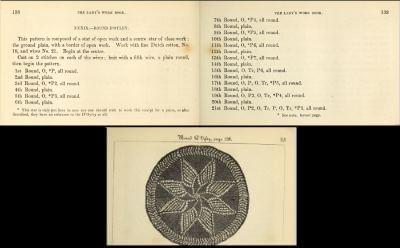Du får beskrivningen på svenska, men originalet till den stickade duken var på engelska. Från 1847.