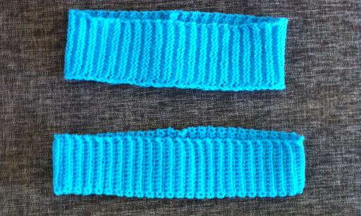 Virka och sticka pannband i enkla ribbmönster