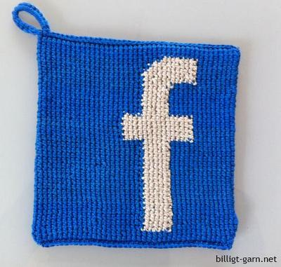 Virkad grytlapp med Facebook-F
