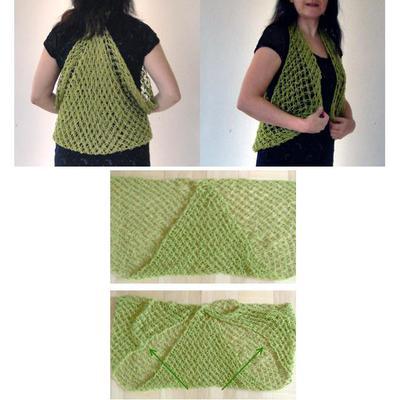 Och tänka sig, du kan förvandla sjalen till en väst med en liten knut! Smart-knut, inte salomonknut.