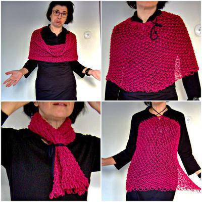 Säckig? Närå! Med en snodd av t ex trikågarn kan du förvandla sjalen ytterligare.