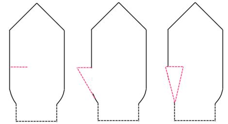 Olika varianter på tummar (med och utan kil) på stickade vantar