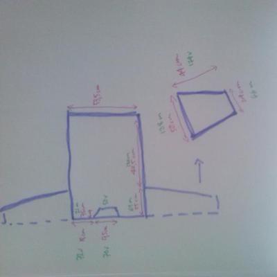 Och så här ser stickbeskrivningen ut: en enkel skiss med mått, omräknat till maskor och varv.