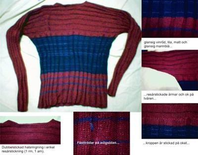Den ribbstickade tröjan Lanzarote, så som den presenterades på auktionswebbplatsen Tradera.