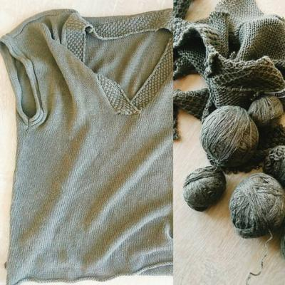 Nej, det svarta garnet skulle inte räcka. Jag packade en topp i kakifärgad lin/bomull = reservgarn.